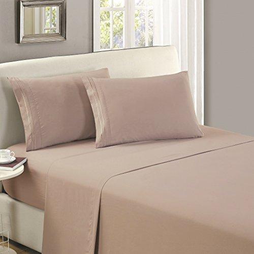 Mellanni Flat Sheet Cal-King Tan Brushed Microfiber 1800 Bedding Top Sheet - Wrinkle, Fade, Stain Resistant - Hypoallergenic - (Cal King, Tan)