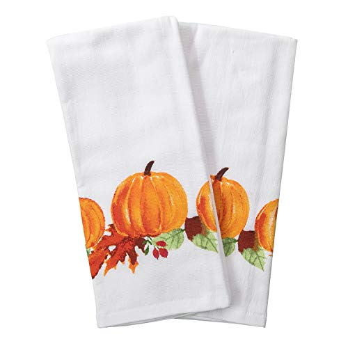 Loving Home Farmer's Market Pickup Truck Fall Wreath Fox and Owl Cotton Dishtowel Set of 2 Kitchen Tea Towels (Variation 2)