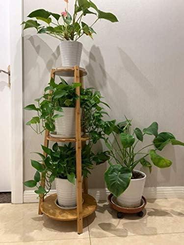 LINlq リビングルームホームオフィス14.6x14.6x38.2inのために竹のフレーム装飾ストレージラックでは3層のプラントラダー
