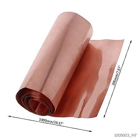 0.1mm x 200mm x 1000mm 99.9/% Pure Copper Cu Metal Sheet Foil Roll Tool