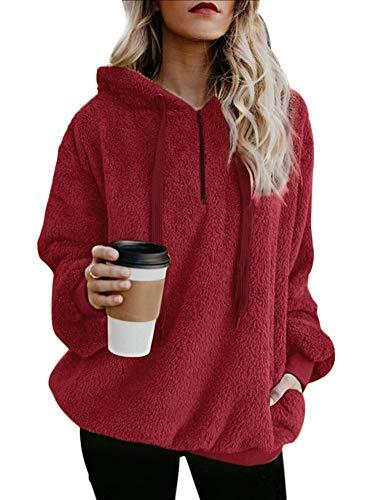 Women's Plus Size Simple Style Drop Shoulder Front Zipper Jumper Outwear with Pocket Wine Red 3XL ()