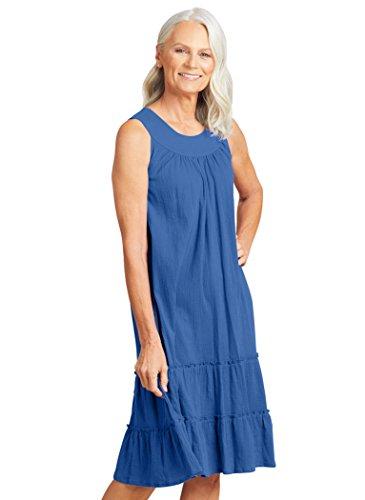 AmeriMark Women's Crinkle Gauze Sundress SP (6P-8P)/Blue (Petite Gauze)