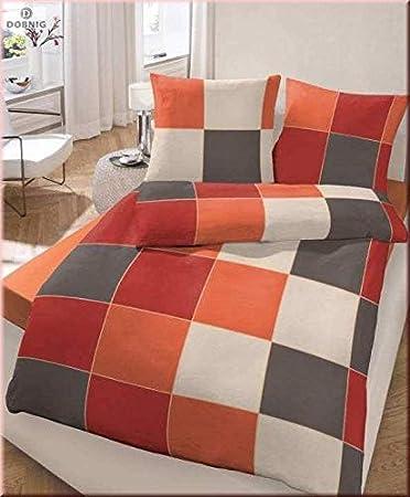 Unbekannt Fein Biber Bettwäsche Orange Anthrazit 135x200 Cm 80x80