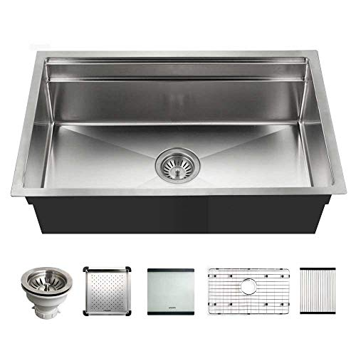 Houzer NVS-5200 Novus Single Bowl Sliding Dual Platform Stainless Steel Kitchen Sink