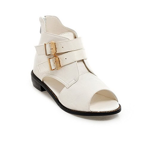 AllhqFashion Women's PU Solid Zipper Open Toe Low-heels Sandals White