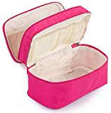 MISSLO Portable Travel Bra Underwear Socks Organizer 3 Layers (Rose)
