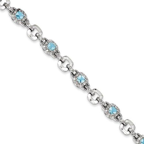 Icecarats Créatrice De Bijoux Sterling Argent Bleu Clair Cz Bracelet En 7 Pouces