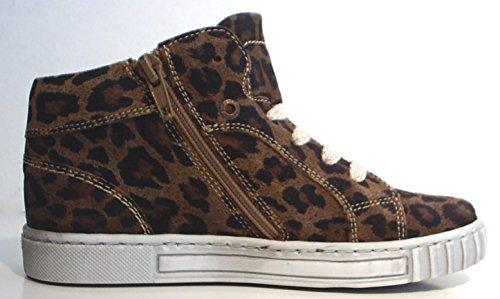 Marrom Baixos Estilo Com Leopardo Pom Sapatos Sneakers Zíper Couro De ygz76cPqH