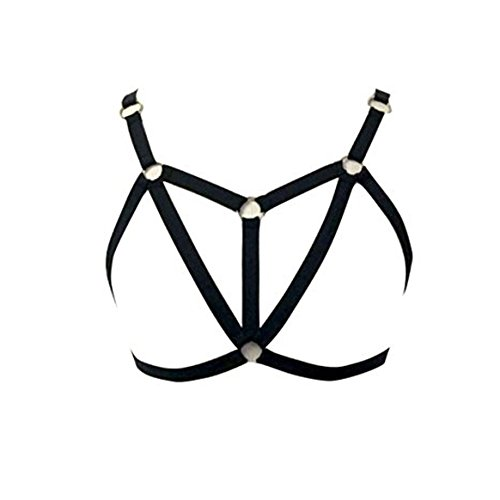 Jys Womens Arnés brasier Triángulo elástico Jaula brasier Strappy Hollow Out brasier Bustier,  balck