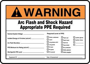 (ARC FLASH AND SHOCK HAZARD APPROPRIATE PPE REQUIRED INCIDENT ENERGY AT 18 INCHES (CAL/CM2) ___ ARC FLASH HAZARD BOUNDRY ___ PPE MINIMUM ARC RATING (CAL/CM2) ___ HAZARD RISK CATEGORY (HRC) ___ ...)