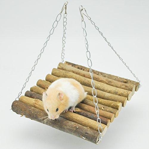 Niteangel wooden swing toy hanging bridge for birds for Wooden swing set with bridge