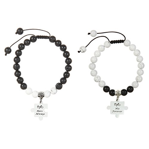 Meibai His and Hers Natural Stone Beaded Couples Bracelet with Stainless Steel Puzzle Charm for Lover (Hers Always & His Forever) Perfect Presents For Boyfriend