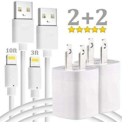 Extra Long iPhone Charger Cord - 10FT 3FT Lightning Charging Data Sync Cable with AC Wall USB Brick Travel Power Adapter Outlet Plug for apple iPad 2 3 4 mini iPod iPhone X 8 7 6 5 SE Plus - White