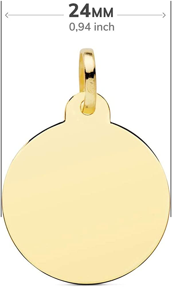 Colgante oro 18k disco 24mm liso brillo redondo