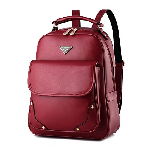 flake-rain-womens-elegant-simple-soft-pu-leather-student-backpack-travelling-shoulders-bagred
