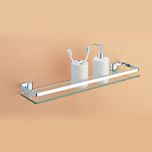 Organize It All Wall Mounting Bathroom Glass Shelf With