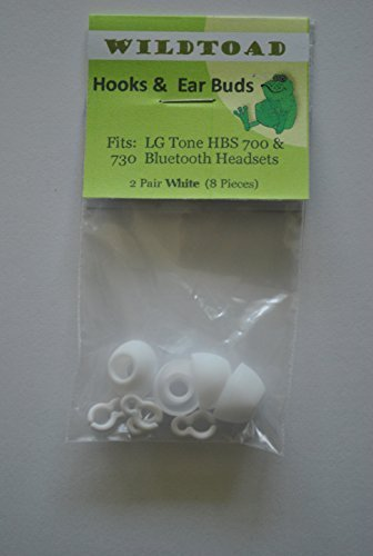 Wildtoad™ White Replacement Plastic Hooks and Earbuds for Lg Tone Hbs- 700, Hbs 730