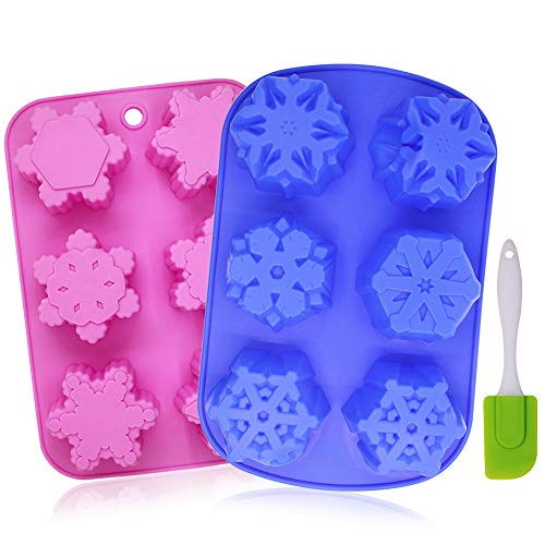 6-Cavity Snowflakes Silicone Cake Mold, YuCool 2 Pack Non-Stick Christmas Baking Tray with Silicone Scraper, DIY Muffin Chocolate Ice Cubes Soap, Oven-Microwave-Freezer-Dishwasher Safe
