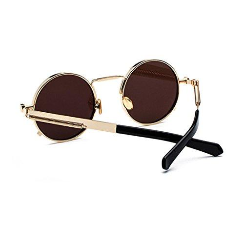 gafas primavera de gafas las Dorado de señoras Gafas redondas de vintage metal Azul Huicai ovales qx7X4Z