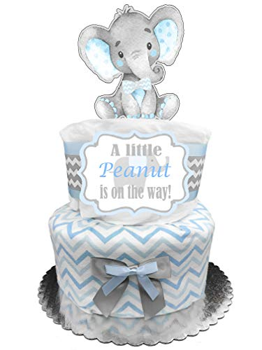 (Elephant Diaper Cake - It's a Boy Baby Shower Gift - Blue and)