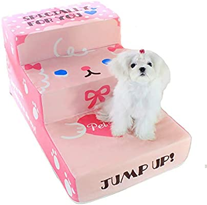 ZSCWMB Escaleras tapizadas para Perros o Gatos Escalera de trepada fácil para Animales de 3 Pasos escaleras de Mascotas (Color : Pink): Amazon.es: Hogar