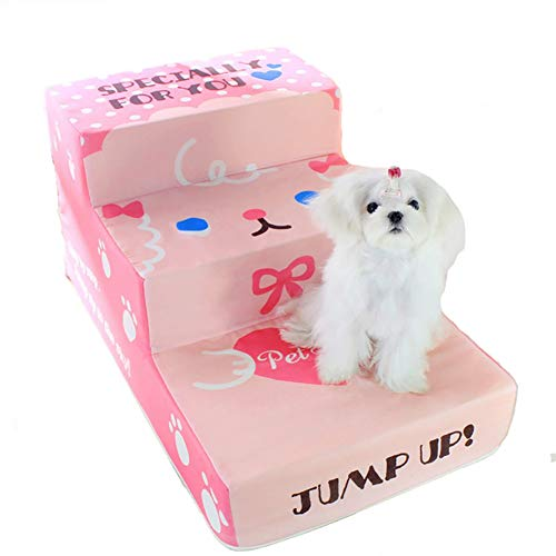 (SXHDMY-Pet steps Dog Or Cat Upholstered Stairs 3 Steps Ladder Animal Easy Climbing Mat (Color : Pink))