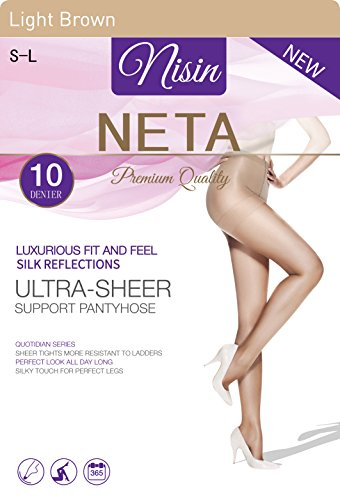 Nisin - Pantyhose 10 Denier Ultra-Sheer Support Silk Panty Hose Premium Quality