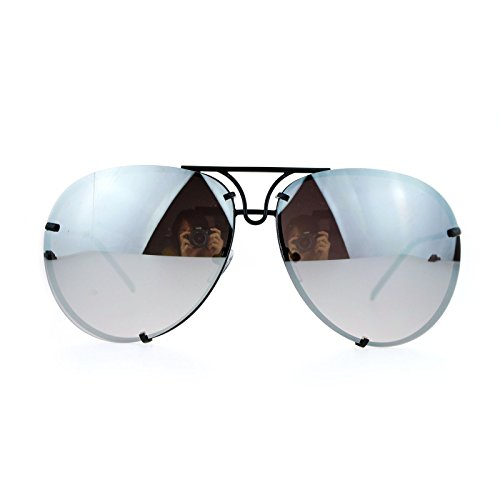 SA106 Rimless Retro Vintage Style Oversize Mirror Lens Aviator Sunglasses Black - Black Oversized Sunglasses Aviator