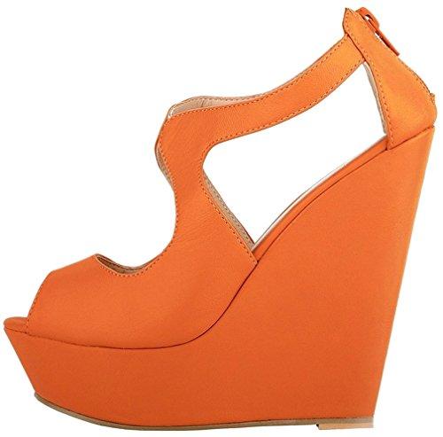 Calaier Mujer Caluckily Tacón Ancho 14CM Sintético Hebilla Sandalias de vestir Zapatos Naranja