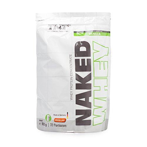 Hochwertiges Whey-Protein Konzentrat - Made in Germany   Eiweiß-Shake für Muskelaufbau und Abnehmen   Aspartamfrei, Glutenfrei mit BCAA   TNT NAKED WHEY Protein-Pulver 1kg Beutel / VANILLE