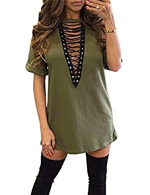Sexyshine Women's Sexy Deep V Neck Halter Lace Up Mini T-Shirt Party Clubwear Club Dress