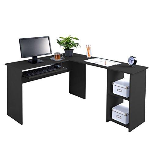 Fineboard FB-LD01-BK L-Shaped Office Corner Desk 2 Side Shelves