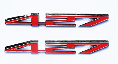 Pair 427 HP Red Emblem for Chevrolet Corvette Engine Hood Replacement Compatible with 17803320