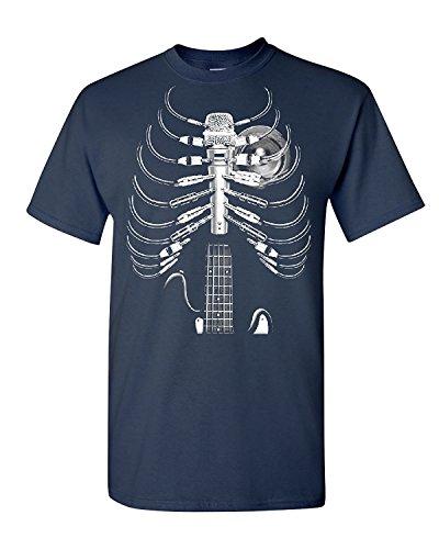 Amped Up Guitar amp Microphone T-Shirt Skeleton Rock Band Tee, Navy Blue, XL