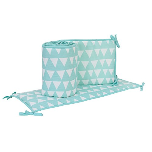 Little Love by NoJo Teal Triangle Print 4 Piece Nursery Crib Bumper, Teal/White