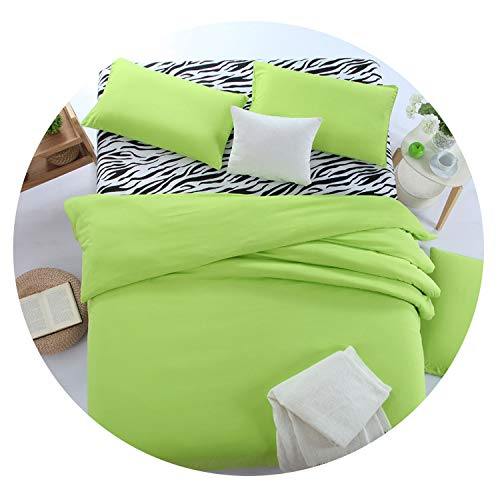 Blue-shore 1Set Bedding Zebra New Bed Sheets Mint Color Double Lines Bedding Polyester Family Adult European Style Four Bedding Sets,Green,Queen