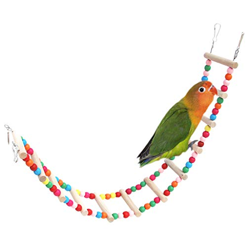 Price comparison product image Colorful Pet Birds Bridge Wood Ladder Climb Cableway Toys Parrot Bites Cage Pet Standing Birds Chew Toys (M,  Multicolor)