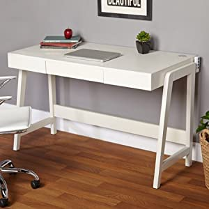 Elegant 1 Drawer Writing Desk, Cable Outlet And USB Port, Rectangle Shape,  Modern Style, Black Or White Color, Office Furniture, Work Space + Expert  Guide ...