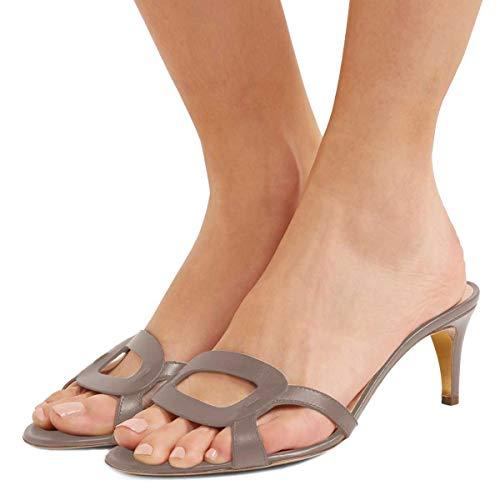 FSJ Women Summer Low Heels Sandals Open Toe Kitten Mules Cutout Slip On Casual Shoes Size 5 Gray ()