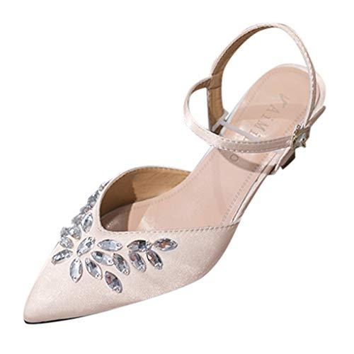 Orangeskycn Summer Women Sandals Fashion Rhinestone Crystal Pointed Toe Buckle Strap Casual High Heel Single Shoes Beige ()