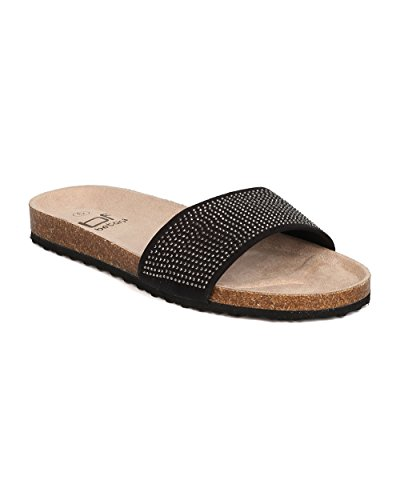 BETANI Women Faux Suede Rhinestone Sandal - Casual, Spa, Beach - Footbed Slipper - GC28 by Black