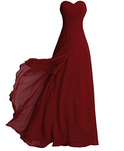 FAIRY COUPLE Gasa Vestido Sin Tirantes de Volantes Vestido Formal de la Dama de Honor D0072 (EU38, Rojo Oscuro)
