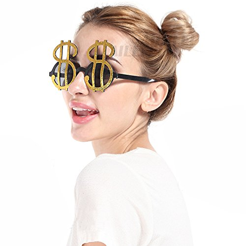 MeiQing Funny Men Women Dollar Sign Money Cash Casino Sunglasses Kids Adults Holiday Party Accessories Eye Wear Glasses Pimp Dollar Sign Gold Sunglasses -