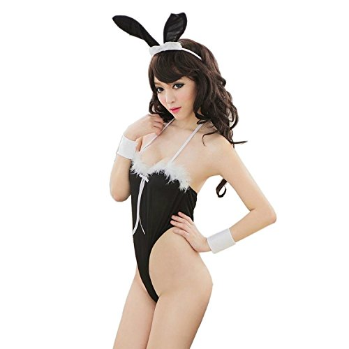 [LoveSex Women Lady Sexy Rabbit Design Backless Lingerie T-back G-string Deep-V Jumpsuit Hot Bunny Body Suit Cosplay Costume Uniform] (Bunny Suit Sexy)