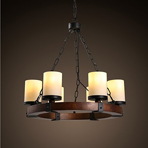 Perfectshow Industrial Edison Vintage Style 6-Light Kitchen Island Ceiling Kitchen Island Pendant lighting Fixture