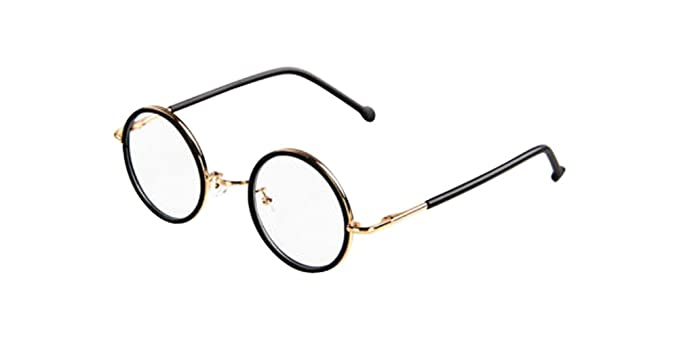 Amazon.com: Matte Black Vintage Small Round Eyeglass Frames Glass ...