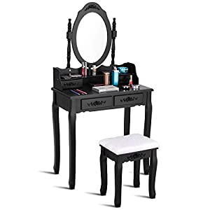 Giantex Vanity Wood Makeup Dressing Table Stool Set Bedroom with Round Mirror and 4 Drawers (Black, 29.5″ LX15.7 WX57.0 H)