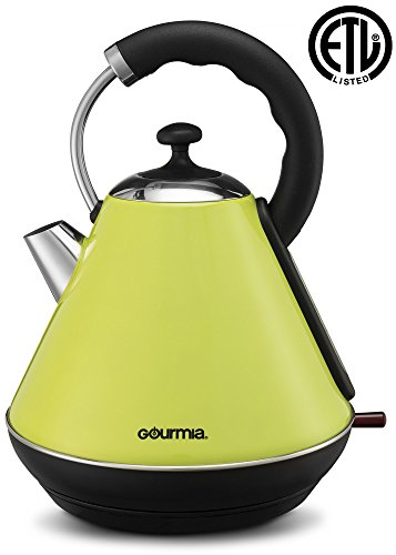 2 Warmer Auto Brewer - Gourmia Electric Retro Kettle - Fast Water Boiling - Rear Water Gauge - Cordless Carry - 360° Swivel Base - Auto Shut Off - Boil Dry Protection - 1.8L/2 Qt - 1500W - Green/Stainless Steel (GK270)