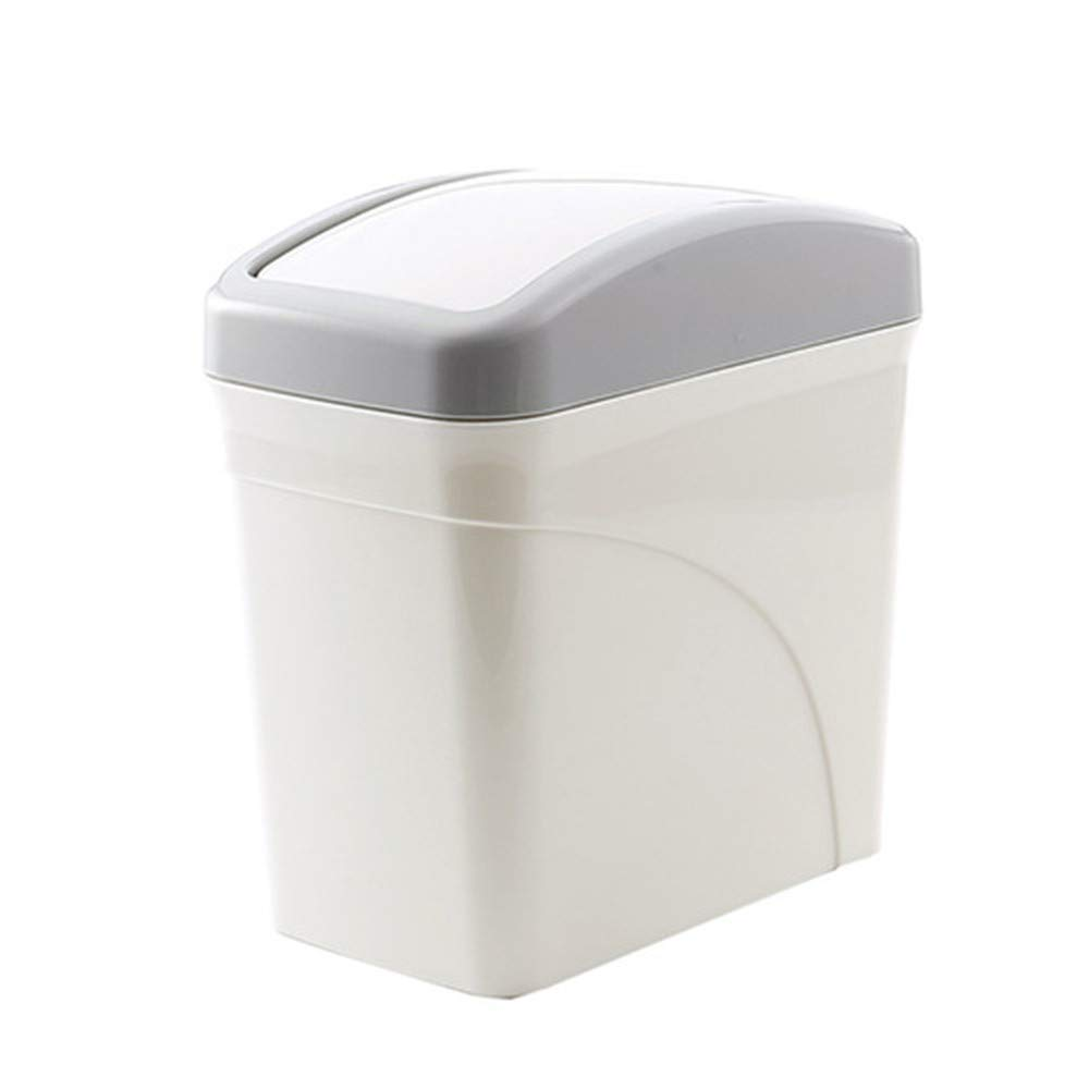 Mini Plastic Trash Can with Swing Lid Tiny Countertop Tabletop Trash Can Wastebasket Dustbin Desktops Garbage Bin for Kitchen Bathroom Living Room (White)