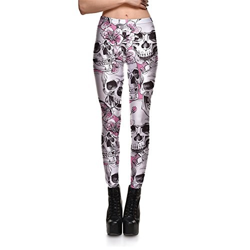 - Fanii Quare Newest Elastic Slimming Floral Active Workout Leggings Footless Tights White Skull L